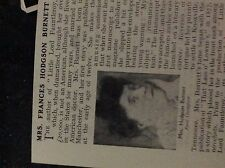 m5-2g ephemera 1912 small article Mrs frances hodgson burnett author