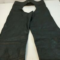 Harley Davidson Leather Chaps Sz M Black Zipper Double Buckle Riding Motorcycle