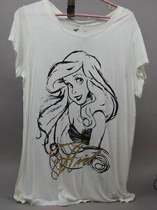 Disney Ariel Juniors White T Shirt with Black & Gold Print Size Xlarge NWT
