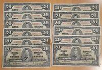 1937 $20 Canada Bank Note Gordon-Towers Prefix D/E - Circulated