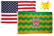 3x5 3'x5' Wholesale Set (2 Pack) USA American & Donegal County Ireland Flag