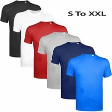 Mens Summer T-shirt Plain 100% Cotton Gym AthleticTraining Tee Top Heavy Quality