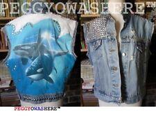 VTG denim cutoff distressed jacket vest Killer Whales jewles spikes hippie studs