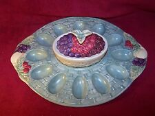"""Pfaltzgraff~Jamberry~Sculpted Deviled Egg Tray 14 3/8"""" and Covered Bowl 5 1/8"""""""