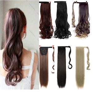 """18"""" As Human Hair Clip In Wrap Around Pony Tail woman hair Smooth Luxury UK"""