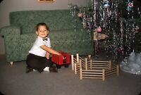 Boy Playing with Toys Christmas Tree 1958 50s Vintage 35mm Kodachrome Slide