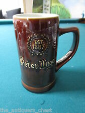 """PETER LUGER Steakhouse Stoneware Stein/Mug by Hall Pottery 6""""[*][Pottery]"""