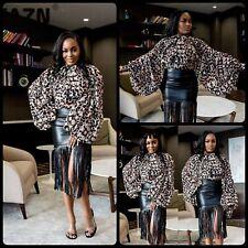 Lovely Leopard Chiffon Bow Tie Neck Front Long Raglan Lantern Sleeve Blouse L