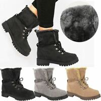 New Ladies Womens Faux Fur Grip Sole Lace Up Winter Ankle Boots Army Shoes Size