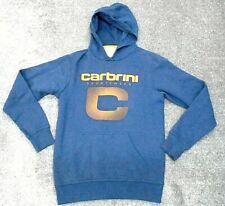 Carbrini Mens Hoodie Blue/Grey Cotton with Logo Uk Size Small