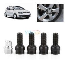 4+1 M14 Black Steel Wheel Bolt & Lock Lug Nut Set With Key For VW Golf Jetta