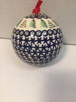 Boleslswiec Made In Poland Handpainted Decorative Blue Christmas Ornament '4'