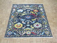 7'8 x 8 Square Hand Knotted Gray Turkish Knotted Oushak Oriental Rug G8527