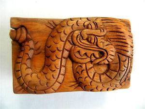 Wooden Dragon Puzzle Trinket  Box Carving - Dragon Design