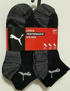 Puma Men's Quarter Crew Socks L 6 Pack Black Grey Performance Half Terry MSPR$18