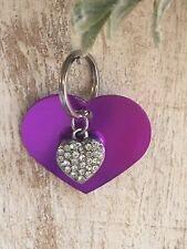Personalized PET ID TAGS  ENGRAVED DOG CAT NAME TAG Purple Heart W/ Bling Heart