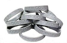 Diabetes Awareness Bracelets Lot of 12 Gray Silicone Jelly Support IMPERFECT New