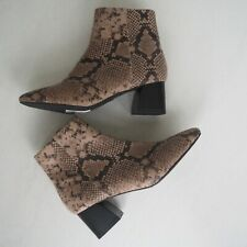 BNWT TOPSHOP 'Babe' Beige Snake Print Block Heel Ankle Boots size UK 8 / EU 41