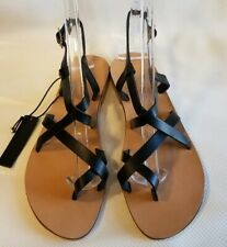 New Topshop Black Leather HICCUP Strappy Gladiator Sandals Size 6 EU Size 37