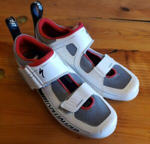 Specialized Trivent Expert Road Shoe 40EU 8US White w/Red cycling carbon EUC
