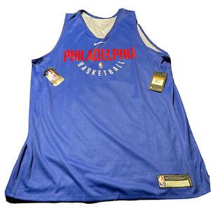 Nike Philadelphia Sixers 76ers Mens XXLT Reversible Blue Practice Jersey