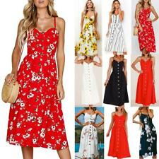 UK Womens Swing Dress Holiday Strappy Pocket Ladies Summer Beach Midi Sundress