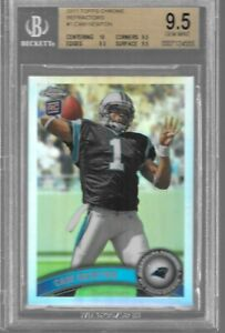 BGS 9.5 CAM NEWTON 2012 TOPPS CHROME REFRACTOR #1 PANTHERS ROOKIE RC GEM MINT