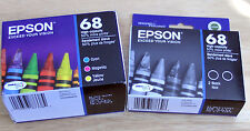 5 GENUINE epson Printer 68 Inks 2 x T0681BK 3 color set T0685 CMY_TO681 HIGH Cap
