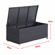 Outsunny Outdoor Patio Wicker Weave Rattan Storage Cabinet Cushion Box Chest