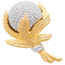 With Swarovski Crystals Ari D Norman Gold & Rhodium Plated Crystal Flower Brooch