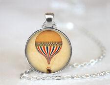 Vintage Hot Air Balloon Tibetan silver Dome Glass Art Chain Pendant Necklace