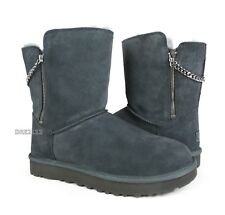 UGG Classic Short Sparkle Zip Charcoal Fur Boots Womens Size 9 *NIB*