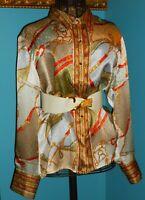 24W Pure Silk Satin Blouse Equestrian Motif Gold Buttons Talbots Woman NWOT