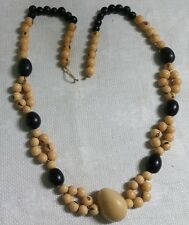 "Vintage Natural Seed Bead Dark Navy Blue Seed Bead 27"" Necklace"