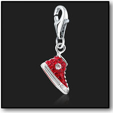 925 Sterling Silver Charm Clip on Red Sneaker with Swarovski Crystal 3D Charms