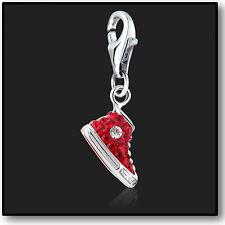 925 Sterling Silver Charm clip su Sneaker Rosso con cristallo swarovski charms 3d