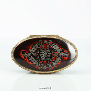 Large Oval Snuffbox Paper Mache IN Schildpatt-Optik Um 1800 England Pontypool