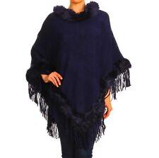 Pancho Wrap Shawl Scarf Solid Soft Knit Faux Fur Edge Long Purple OSFM Fringe