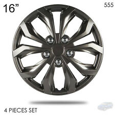 """NEW 16"""" ABS GUNMETAL LUG STEEL WHEEL HUBCAPS COVER 555 FOR MAZDA"""