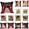 "18""Xmas Christmas Cushion Case Merry Claus Home Decor Cover Santa Linen Pillow"
