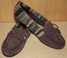 "'The Sak' Loafer Slipper~Brown Suede & Crochet Slip-On~US 9 1/2 M~1/2"" Heel"