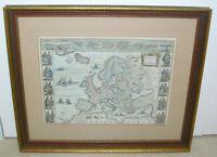 Antique Blaeu Map of Europe Ca. 1640 Handcolored Modern Restrike Decor Art Print