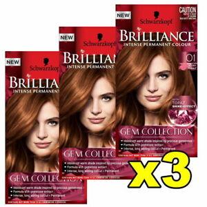 3x Schwarzkopf Brilliance Permanent Hair Colour 01 Fiery Topaz