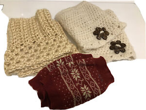 Lot Of Boot Cuffs Toppers 3 Misc Pairs 2 Hand Crochet Barely Worn Cream Red
