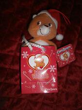 CAREBEAR  TENDERHEART BEAR  PLUSH  IN CHRISTMAS BAG WITH SANTA HAT
