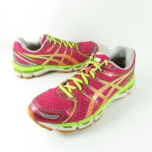 Asics Womens Gel Kayano 19 T350N Pink Green Running Shoes Lace Up Size 9.5