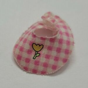BARBIE DOLL ACCESSORIES KRISSY LAYETTE PINK WHITE CHECKERED BABY BIB ONLY CUTE