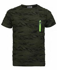 Kids Camo Dot Print Short Sleeve T-shirt Army Soldier Military Combat Top 3-14 Y