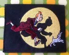 TINTIN AND SNOWY DOG PATCH Oldschool Cartoon Character Hero. Fast Ship