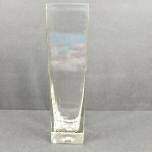 Tall Clear Glass Vase Square Made in Thailand Bubbles
